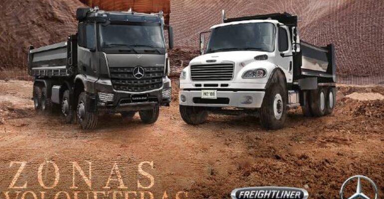 Ruta nacional de zonas volqueteras con Mercedes-Benz y Freightliner